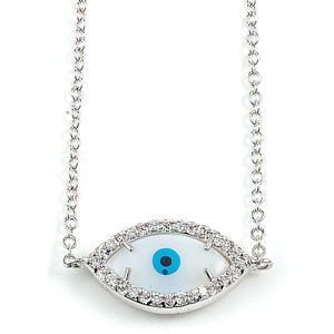sterling silver rhodium cz enamel evil eye necklace