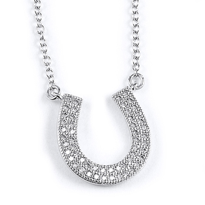 sterling silver rhodium plated horseshoe necklace w/ cz accents