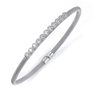 sterling silver rhodium plated & cz bangle