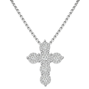 sterling silver w/ rhodium plated cubic zirconia cross necklace