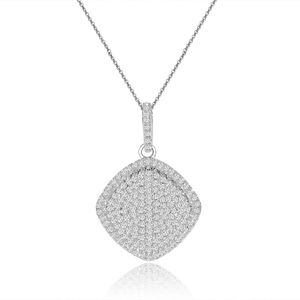 rhodium plated sterling silver square pave cz disc necklace