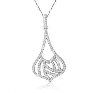 rhodium plated sterling silver pear cz chandelier necklace