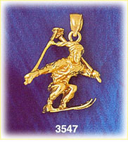 14k gold 3d skier jumping charm