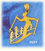 14k gold skier on slopes charm