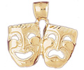 14k gold drama mask charms