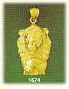 14k gold lion head with paw charm