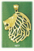 14k gold lion head with cutout mane charm