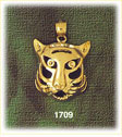 14k gold caricature tiger head charm