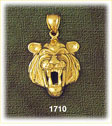 14k gold growling tiger head charm