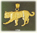 14k gold ornate tiger pendant