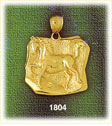 14k gold horse head medallion