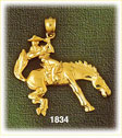14k gold bucking bronco horse charm