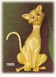 14k gold tabby cat pendant