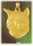 14k gold cat face pendant