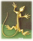 14k gold polished lizard charm