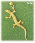 14k gold long lizard charm
