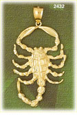 14k gold fierce scorpion charm
