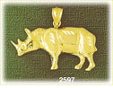 14k gold etched rhinoceros charm