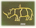 14k gold outlined rhinoceros charm