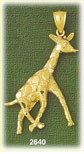 14k gold walking giraffe charm