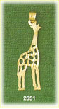 14k gold outlined giraffe charm