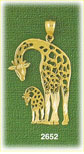 14k gold outlined giraffe with calf charm