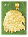 14k gold bald eagle head charm