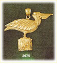 14k gold pelican perched bird charm