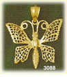 14k gold butterfly with pointed wings charm