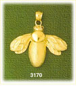 14k gold beetle insect charm