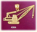 14k yellow gold construction engineering crane charm