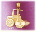 14k yellow gold construction road roller charm