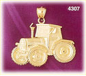 14k yellow gold construction tractor charm pendant