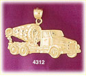 14k yellow gold construction concrete cement mixing truck charm