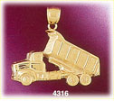 14k yellow gold construction dump truck charm