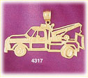 14k yellow gold construction tow truck charm