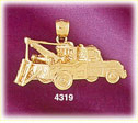 14k yellow gold equipped tow truck construction charm