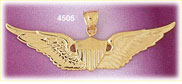 14k yellow gold air force wings military charm