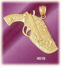 14K Yellow Gold Gun And Holster Charm
