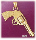 14k yellow gold revolver gun firearm charm 3d