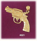 14K Yellow Gold Firearm Revolver Gun Charm