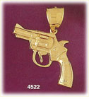 14K Yellow Gold Revolver Firearm Gun Charm