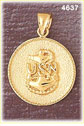 14K Yellow Gold USN Navy Military Charm