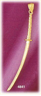 14k yellow gold japanese sword weaponry charm 3d