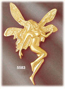 14k yellow gold fantasy flying fairy with long hair charm pendant