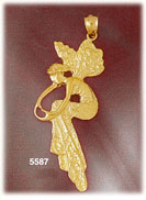 14k yellow gold elegant fairy making heart with hand fantasy pendant