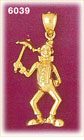 14K Gold Clown Holding Umbrella Charm