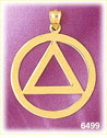 14K Gold Triangle And Circle Charm