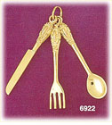 14K Gold Fork Knife And Spoon Charm