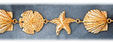 14k gold seashell, sand dollar & starfish bracelet